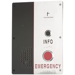 IP Call Station, 2-Way, Emergency/Info, Dual Button, Flush Mount, 12 Volt DC, 24 Volt AC/DC, IP66, Brushed 316 Stainless Steel Faceplate, Polyethylene Terephthalate Panel