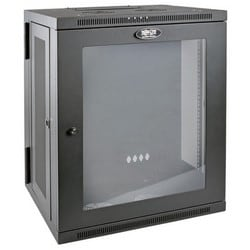 Tripp Lite 15U Low-Profile Wall-Mount Rack Enclosure Cabinet with Clear Acrylic Window, Double Hinge, Removable Side Panels, 30H x 24W x 22D