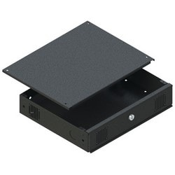 "DVR Lockbox, Mobile/Rack Mount, 2RU, 17.36"" Width x 3.5"" Depth x 14.4"" Height, Black Static-Resistant Powder Coated, With Fan, Mounting Strip"