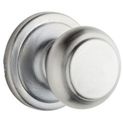 Door Lock Knob Set, Troy, Square Corner Strike/Adjustable Latch, Polished Chrome, For Privacy/Bedroom/Bathroom, Box Pack
