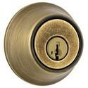 Door Deadbolt, Single Cylinder, Standard Duty, Keyed Alike, 2 Lockset, Weiser Pin/Tumbler, Square Corner Full Lip Strike/Adjustable Latch, Antique Brass, Box Pack