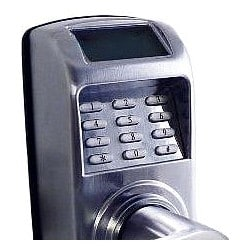 """Access Control Pin Lock, Battery Operated, Grade 2 Tubular, Lever Handle, 1-1/2"""" Width x 3"""" Depth x 10"""" Height, Satin Chrome, With Z-Wave Static Controller"""