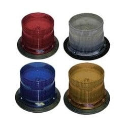 """Industrial Strobe, 2-Flash, 10.5 to 31 Volt DC, 100 Candela, 6.2"""" Diameter x 5"""" Height, Clear Lens"""