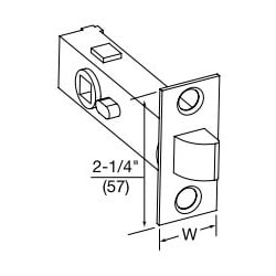"""Tubular Lock Latchbolt, Square Front, 2-3/4"""" Backset, 1-1/8"""" Width x 2-1/4"""" Height Front, 1/2"""" Throw, 1"""" Diameter x 1-1/8"""" Width, Satin Nickel, Clear Coated"""