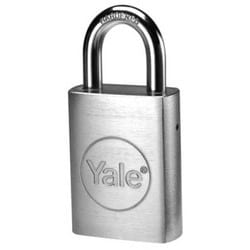 "Door Padlock, Fixed Core, FL Keyway, 6-Pin, 5/16"" Shackle Diameter, 3"" Vertical Clearance, 1-3/4"" Width x 5-3/8"" Height, Molybdenum Steel Shackle, Chrome Plated Steel Case"