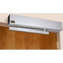 Door Closer Power Operator, Non-Handed, Low Energy, Push Side, Standard Duty, Double Lever Arm, 1-6 Adjustable Size, 110 Degree Swing, 120 Volt AC, 1.3 Ampere, Aluminum