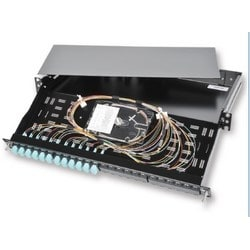 """LANS 19"""" Patch Panel, 1U, LC Duplex Shuttered Aqua Adapters, 24-fibers Multimode OM4, Includes Pigtails and Splice Trays, Black"""
