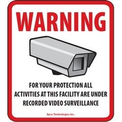 """CCTV Decal, Generic, Outdoor, Split Back/Easy Peel, 3.5"""" x 4"""" Footprint, 10 each per Pack"""