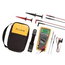 Digital Multimeter Combination Kit, 1000 Volt, 10 Ampere, 50 Micro Ohm, 100 Kilohertz, 10000 Microfarad, -40 to 400 Deg C, Includes Test Lead, Battery, Hook Clip, Test Probe, Case