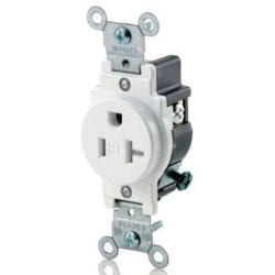 T5020w Leviton Single Receptacle Anixter. Single Receptacle Outlet Mercial Specification Grade Terresistant Smooth Face 20. Wiring. Wiring Single Pole 20a Outlet At Scoala.co