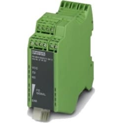 PSI-MOS-RS422/FO1300 E - RS422/485 4-wire to fiber Converter: Terminal block serial to duplex fiber 1300nm (SC) - 24VDC USA wall power adapter