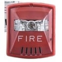 Fire Alarm Horn Strobe, Square, Multi-Candela, Field Selectable, Indoor, Wall Mount, 2-Wire, 12/24 Volt DC, Red