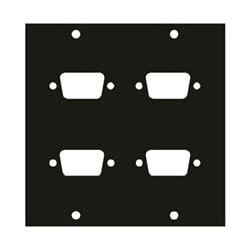 """UCP Module, 4-DB9 Punchout, 3.39"""" Width x 0.125"""" Depth x 3.49"""" Height, Aluminum, Black Brushed and Anodized"""