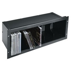 "Rack Mount CD Holder, 4RU, 19"" Width x 5.74"" Depth x 7"" Height, Steel, Black Brushed and Anodized, Hold 40 CD"
