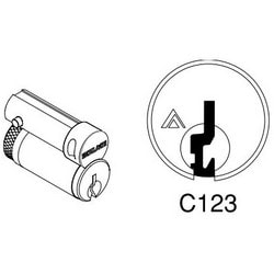 Door Lock Cylinder Core, FSIC, Conventional, C123 Keyway, Right Hand, Satin Chrome, For Hotel Function
