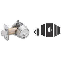 "Door Lock Deadlatch, 2-3/8"" Backset, Satin Chrome, Without FSIC Cylinder"