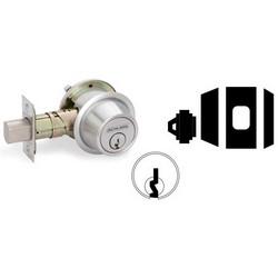 Door Deadbolt Lock, Keyed/Blank Plate, 1-Way, C Keyway, Oil Rubbed Bronze, With 6-Pin Cylinder