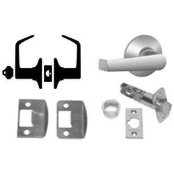 Door Lock, Elan Lever, Satin Chrome, With Triple Latch, Dual Strike, For Storeroom