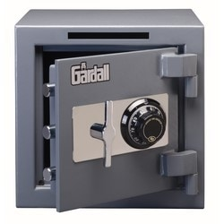 """Depository and Under Counter Safe, Combination Lock, Commercial Light Duty, Front Load, 14"""" Width x 14"""" Depth x 14"""" Height, Plate Steel Door, Gray"""