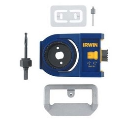 """Door Lock Installation Kit, Includes Double-Sided Jig, (2) Bi-Metal Hole Saw, 3/8"""" Mandrel, Bolt Plate Template, Custom Router Bit, Hinge Plate Template"""