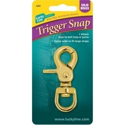 """Key Trigger Snap, 2-5/8"""" Length, Solid Brass, With 1"""" Brass Split Ring, 1 each per Card"""