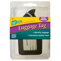 "Luggage Tag, 2-1/4"" Width x 3-1/2"" Height, Leather, With Metal Buckle, 1 each per Card"