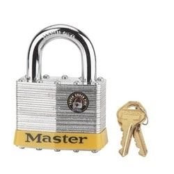 "Tumbler Padlock, Keyed Different, 5-Pin Cylinder, 2-1/2"" Width, 1-1/4"" Shackle Clearance, Laminated Steel"