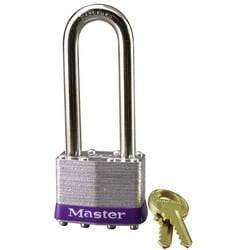 "Tumbler Padlock, Keyed Different, 4-Pin Cylinder, 1-3/4"" Width, 2-1/2"" Shackle Clearance, Laminated Steel"