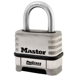 """Combination Padlock, Numeric, Proseries, Resettable, 2-1/4"""" Width, 1-1/16"""" Shackle Clearance, Stainless Steel"""