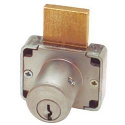 "Deadbolt Drawer Lock, National Keyway, Non-Hand, Keyed Alike, 7/8"" Diameter x 1-3/8"" Length Barrel, Die-Cast Zinc, Satin Chrome Plated, With 107 Key"