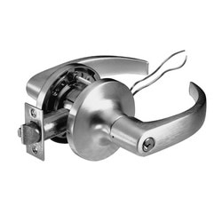 Cylindrical Lever Lock, Augusta, Fail Safe, 24 Volt, Satin Chrome Plated, Without Cylinder