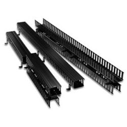 "Cable Management Duct, Slotted, Vertical Front and Rear, Rack Mount, 5"" Width x 4"" Depth Channel, 80"" Length, ABS Plastic Channel, PVC Black Snap-On Cover"