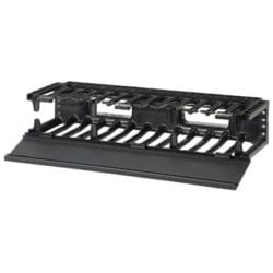"""Cable Manager, Horizontal, Front Finger Spacing, 2RU, 19"""" Width x 6.2"""" Depth x 3.5"""" Height, ABS Plastic, Black"""