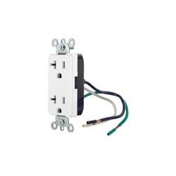 20 Amp, 125 Volt, NEMA 5-20R, 2P, 3W, Decora Plus Duplex Receptacle, Straight Blade, Commercial Grade, Self Grounding, With Leads, Steel Strap, - White