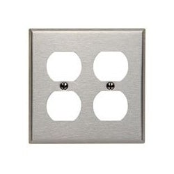 2-gang Duplex Device Receptacle Wallplate, Standard Size, Device Mount, Stainless Steel