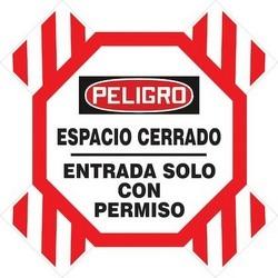 "Man-Way Cross Barrier, PELIGRO ESPACIO CERRANDO - ENTRADA SOLO CON PERMISO, Crossbuck Arms: 6"" x 42""; Octagonal Sign: 11-1/2"" x 11-1/2"", Polycarbonate, Red/Black on White"