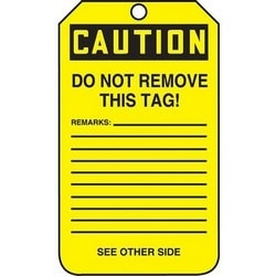 """Safety Tag, CAUTION DEFECTIVE DO NOT USE, 5.75"""" x 3.25"""", Poly Cardstock, Black on Yellow"""