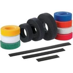 """Tak-Ty Hook & Loop Strip Cable Tie, 18.0"""" (457mm) Length, .75"""" (19.1mm) Width, Nylon Loop, Polyethylene Hook, Red"""