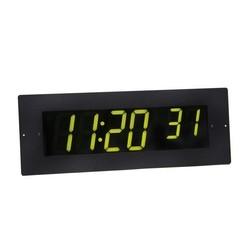 6 digit clock, black powder-coated aluminum case for recessed mounting, with black powder-coated aluminum face plate, green LED