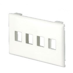 Snap-on Flush Mount Universal Keystone Faceplate, 4 Position