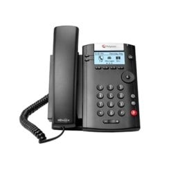 VVX 201 2-line Desktop Phone with dual 10/100 Ethernet ports. PoE only. Ships without power supply.