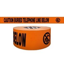"CAUTION BURIED TELEPHONE LINE BELOW, 3""x1000', 4mil"