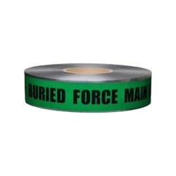 """CAUTION FORCE MAIN LINE BELOW, 2""""x1000', 5mil"""