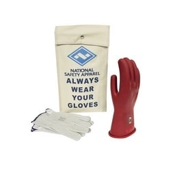 Class 0 ArcGuard Rubber Voltage Glove Kit - Red - 9, Rubber/Leather, Class 0