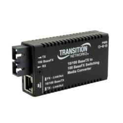 Mini Bridging Media Converter, Port One: 10/100BASE-TX (RJ45) [100 m/328 ft.], Port Two: 100BASE-FX 1300 nm multimode (SC) [2 km/1.2 mi.], 12 Volt DC, 0.5 Amp Min