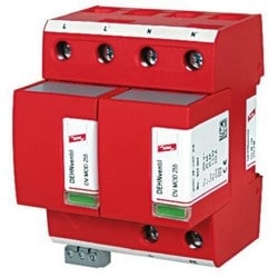 DEHNventil Modular Lightning Current/Surge Arestor for Single-Phase TN Systems, 230V, Type 1 and Type 2 SPD, w/ Floating Remote Signaling Contact