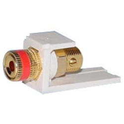5 Way Binding Post Module With Red Stripe, White