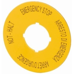Label, Emergency Stop, D=90mm, Yellow, DE, EN, FR, IT
