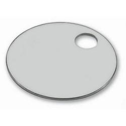 "Key Tag, 1-Hole, 1-1/2"" Diameter, Aluminum, Silver, For Pet Tag, Facilities Management"