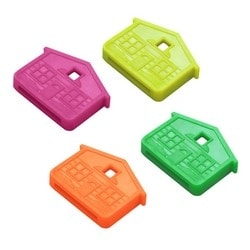 "Key Identifier Cap, House, 1-1/4"" Length x 1"" Width, Vinyl, Neon, 100 each per Display Box"